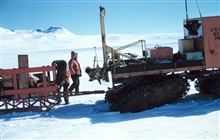 Tractor-train stopped on way up Skelton GlacierMcMurdo Station to South Pole traverse
