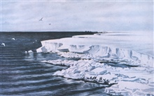 The great ice barrier - looking east from Cape Crozier.In:  Scott's Last Expedition ...., 1913.  Dodd, Mead, and Company.  New York.Volume I.  Page  51.  Watercolor by Edward A. Wilson.
