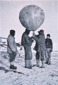 Dr. Simpson sending up a balloon.In:  Scott's Last Expedition ...., 1913.  Dodd, Mead, and Company.  New York.Volume I.  Page 266. Library Call No. G850 1910 .S35 1913 .