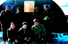 The engineers who built the Marble Point landing strip - the first ground stripin Antartica.  Back row - Bill McTigue, Navy Hydro Office; Commander Stephens,USN; __; Dr. Bob Nichols, Tufts University; front row - ___; Father Linehan,Wesson Observator