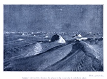 Appearance of the sea ice on October 8, 1898. In:  Resultats du Voyage du S. Y. BELGICA en 1897-1898-1899 .... Oceanographie Les Glaces Glace de Mer etBanquises par Henryk Arctowski.  1908.  P. 55.  Plate I.