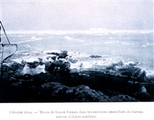 Sea ice beginning to freeze together on February 5, 1899. In:  Resultats du Voyage du S. Y.  BELGICA en 1897-1898-1899 .... Oceanographie Les Glaces Glace de Mer et Banquises par Henryk Arctowski.1908.  P. 55.  Plate I.