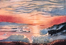 The Autumn Sunset. In:  The Heart of the Antarctic, Volume I, by E. H. Shackleton, 1909.  P. 46.Library Call Number G149 S52.