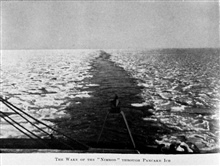 The Wake of the Nimrod through Pancake Ice. In: The Heart of the Antarctic, Volume I, by E. H. Shackleton, 1909.  P. 78.Library Call Number G149 S52.