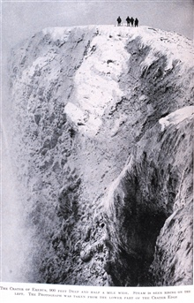 The Crater of Erebus, 900 Feet Deep and Half a Mile Wide.In: The Heart of the Antarctic, Volume I, by E. H. Shackleton, 1909.  P.184.Library Call Number G149 S52.