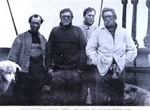 The Southern Party on Board the Nimrod.  Left to right -Wild, Shackleton, Marshall, Adams.  In: The Heart of the Antarctic, Volume I, by E. H. Shackleton, 1909.  P. 364.  Library Call Number G149 S52.