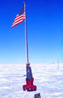 Fred Walton proving that it's optional whether to walk upside-down or right-sideup at the South Pole.  Just kidding!