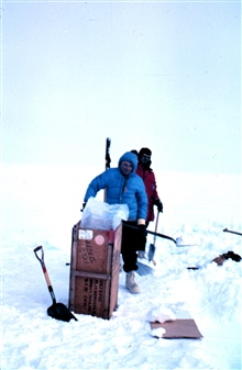 Fred Walton helping out at the snow hole - a site for studying recent layers ofSouth Pole snow buildup and precipitation.