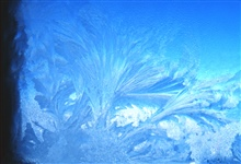 Beautiful frost patterns develop on the windows of the Clean Air Facility