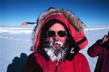 Lieutenant John Bortniak out for a stroll at the South Pole