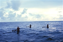 Native Micronesian fishermen greeting the TOWNSEND CROMWELL