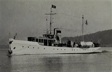 Coast and Geodetic Survey Ship NATOMA.In service 1919-1935.Pacific and Atlantic service.Note house flag and man in sounding barrel.