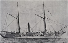Coast and  Geodetic Survey steamer BLAKE.In service 1874-1905.Note cable leading from bow, ship anchored in 600 fathoms.Current surveys in the Windward Passage.