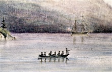 Sounding party off USCS Brig FAUNTLEROY.1857-Earliest picture of Coast Survey sounding operations.Watercolor by James Madison Alden, nephew of Lieutenant CommandingJames Alden.